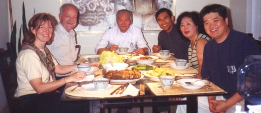 A dinner party with Tana, Mr. Smith, Mr. Lo, Dr. Lee and Mrs. Lee and David